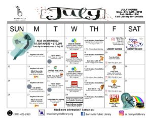 Visual image of July library calendar
