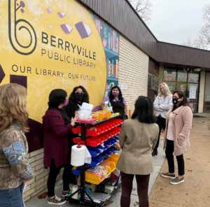 STEAM leaders Kelly Ramirez and Lesly Burke, librarians from Berryville and Green Forest are shown demonstrating a few of the science-based experiments and projects that this grant will help fund.
