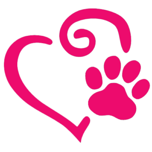 Heart with dog paw print