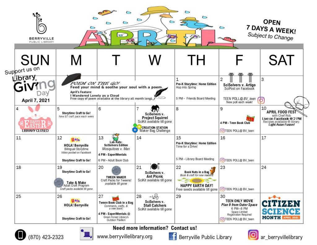 Berryville Library Program Calendar for April 2021
