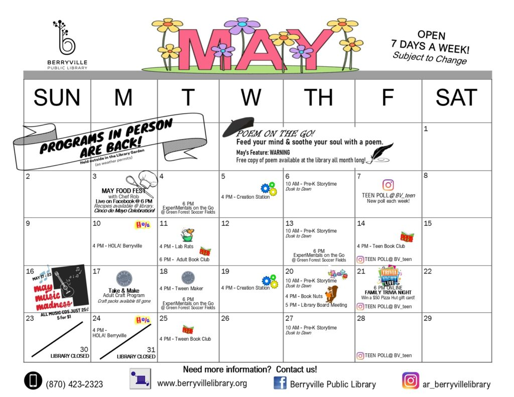 Calendar of programs at the Berryville Library in May