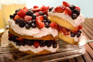 Red, White, and Blueberry Shortcake Cake