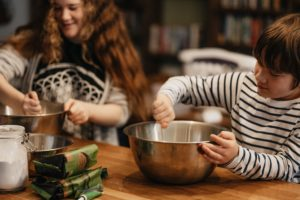 Picture of kids cooking in a kitchen