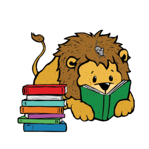 Lion reading a book