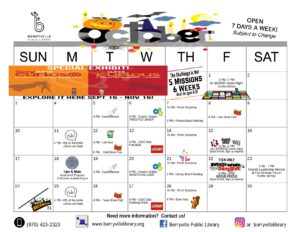 Calendar of events happening at Berryville Library in October 2021